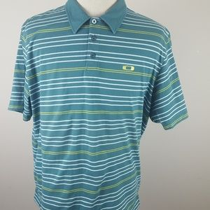 Other - Men's Oakley Blue Striped Polo Shirt Size XXL